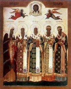 Святители московские чудотворцы Ермоген, Филипп, Иона, Алексий и Петр.