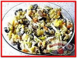 Постный грибной салат с рисом